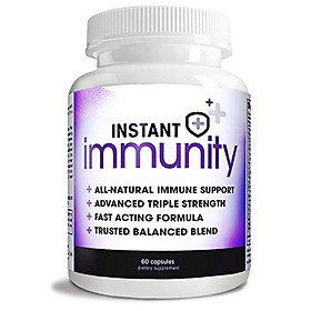 Instant Immunity - 20-in-1 Immune System Booster Wellness Formula with Cat's Claw, Quercetin, Echinacea, Vitamin C, and Olive Leaf Extract 60ct