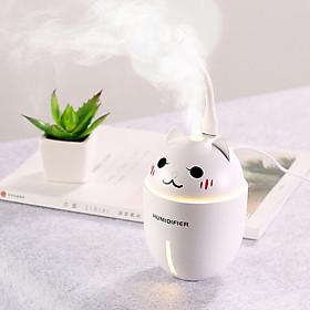 Máy phun sương tạo độ ẩm, khuếch tán tinh dầu hình mèo có đèn Led, quạt mini - Trắng
