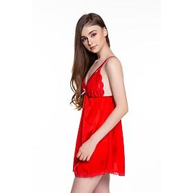 Dremamy-VX01-Váy ngủ lụa cao cấp, váy ngủ nữ, váy ngủ 2 dây, váy ngủ gợi cảm, váy ngủ sexy, đầm ngủ lụa mặc nhà 2 dây phối ren ngực có 3 màu đỏ tươi, đen và xanh đen