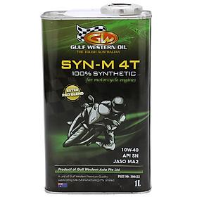 Nhớt Động Cơ Đốt Trong Gulf Western Oil 4T SYN-M 4T 100% SYNTHETIC 10W-40 API SN JASO MA2, PAO ESTER BLEND 1 Lít - Chuyên dùng  cho Xe số - Xe côn tay