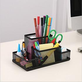Hộp đựng bút 4 NGĂN để bàn kim loại đa năng, bền đẹp phù hợp cho bàn học, bàn làm việc, văn phòng - giao màu ngẫu nhiên