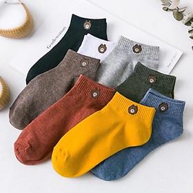 Combo 10 đôi tất nữ cổ ngắn hình gấu chống hôi chân - tặng túi
