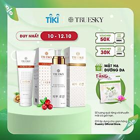 Bộ sản phẩm Truesky VIP15 gồm 1 kem dưỡng trắng toàn thân 100ml & 1 tẩy tế bào chết 100ml