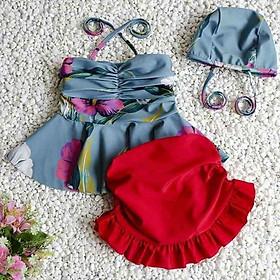 Bộ bơi áo bơi bé gái set 3 gồm áo mũ váy liền quần 18 đến 23kg