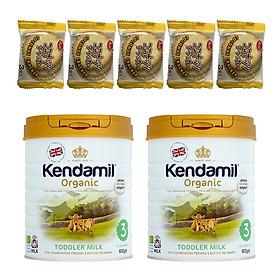 Combo 2 hộp Sữa Nguyên kem công thức hữu cơ KENDAMIL ORGANNIC số 3: ORGANIC TODDLER MILK (800G) ( cho trẻ từ 1-3 tuổi) - Tăng sức đề kháng, tăng cân, phát triển chiều cao và trí não – Tặng 5 bánh quy Nhật Bản hiệu Aee