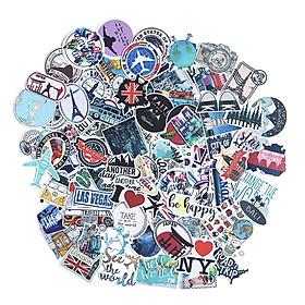 Bộ 100 Sticker Travel Du Lịch Hình Dán Trang Trí Vali Chống Nước Decal Chất Lượng Cao Xe Đạp Xe Máy Xe Điện Motor Laptop Nón Bảo Hiểm Máy Tính Học Sinh Tủ Quần Áo Nắp Lưng Điện Thoại
