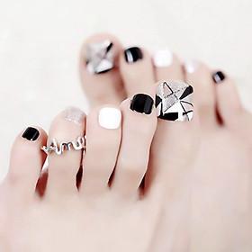 Bộ 24 móng chân giả trang trí trắng đen kèm keo