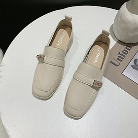 IELGY British style leather shoes Korean fashion thick heel comfortable casual Doudou women's shoes