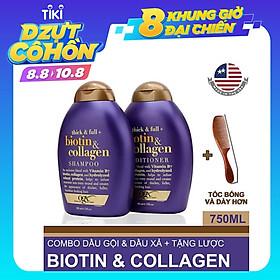 Combo Bộ Đôi Dầu Gội Và Dầu Xả OGX Biotin & Collagen 385ml + Tặng Lược - Chính hãng
