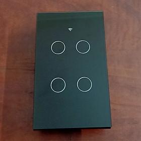 Công tắc cảm ứng Wifi thông minh 4 chạm điều khiển từ xa qua Smartphone - HCN màu đen - Hàng nhập khẩu
