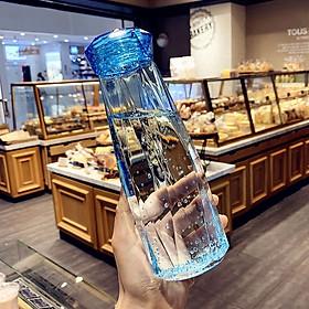 Chai Thủy Tinh Đựng Nước cao cấp 450ML - Màu Xanh Blue - Mẫu giác cắt kim Cương (1 chai) – Bình Đựng Nước Café, Trà, Nước Ép cực đẹp cho các anh chị làm văn phòng – hot trend, mẫu mới nhất