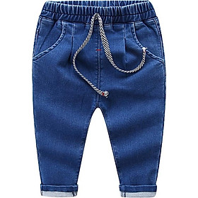 Children Fashion Jeans Boys And Girls Solid Color Elastic Waist Jeans Trousers Pants Kids Wear 2 Colors Available