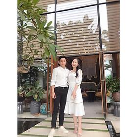 Bộ áo váy somi cặp đôi chụp cưới, đồ đôi nam nữ màu trắng AV169 -Couple Tina