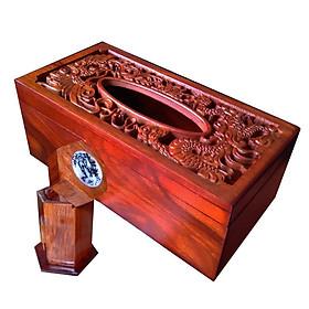 Hộp khăn giấy gỗ hương chữ nhật mặt trạm rồng phượng kèm hộp tăm