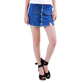 Short Váy Jean Nữ Phối Nút Trên Gối Cực Xinh CV002 Miha Fashion - Xanh