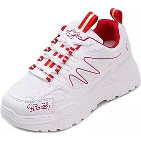 Giày Sneaker Nữ Độn Đế Vạch Sóng ( Trắng đỏ , Trắng đen )