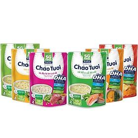Combo 6 gói cháo tươi baby Sài Gòn Food vị (gà, thịt bằm, bò, tôm, lươn, cá hồi) 240g