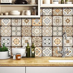 Decal gạch bông cổ điển màu nâu phối vàng xám, Decal dán bếp, Decal dán tường, dán kệ, tủ gỗ .. Mẫu KT49