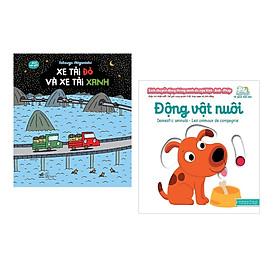 Combo 2 cuốn Ehon mẫu giáo: Xe tải đỏ và xe tải xanh + Sách chuyển động - Song ngữ A-V: Domestic Animals - Động vật nuôi