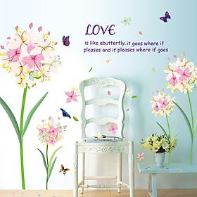 Decal dán tường Hoa 5 cánh trắng hồng trang trí phòng khách,phòng ngủ đẹp
