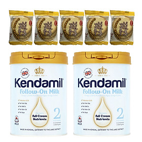 Combo 2 hộp Sữa bột nguyên kem KENDAMIL số 2 FOLLOW-ON MILK 900g (6-12 tháng tuổi) - Tăng sức đề kháng, tăng cân, phát triển chiều cao và trí não – Tặng 5 bánh quy Nhật Bản hiệu Aee