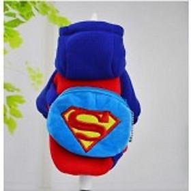 áo chó mèo cao cấp kiểu áo khoác nỉ xanh đỏ có túi hình siêu nhân size m , l , xl , xxl