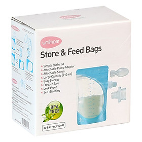 Hộp 20 Túi Trữ Sữa Mẹ Và Thức Ăn Cho Bé Ăn Trực Tiếp Bằng Thìa Unimom UM870312