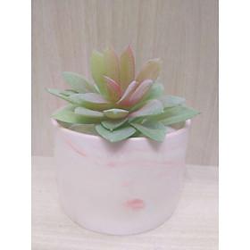 Chậu cây hoa giả hình trụ đá cẩm thạch hoa sen đá tứ phương