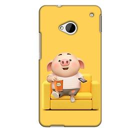 Ốp lưng nhựa cứng nhám dành cho HTC One M7 in hình Heo Con Thư Giãn