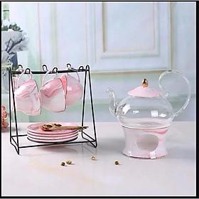 Bộ ấm trà nến hồng Pastel kèm kệ treo chén