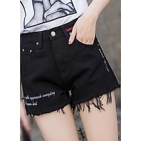 Quần short nữ lưng cao ống rộng cá tính 0114