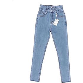 Quần jean nữ lưng cao Julido, chất jean cotton co dãn tôn dáng phụ nữ eo thon mẫu DOT4