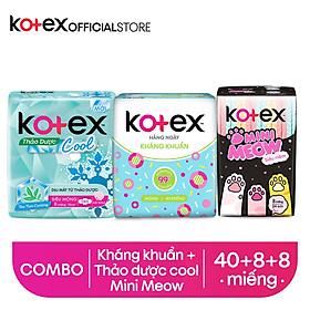 Combo Băng Vệ Sinh Kotex hằng ngày kháng khuẩn 8 miếng + Thảo dược Cool SMC 8 miếng + Mini Meow SMC 8 miếng