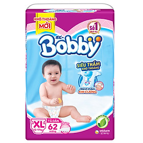 Tã Dán Bobby Siêu Mỏng Thấm Gói Siêu Lớn XL62 (62 Miếng)