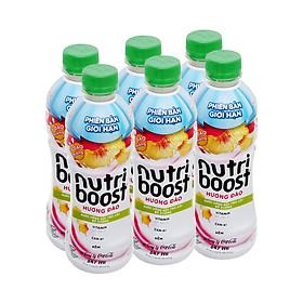 Lô 6 nước trái cây Nutri đào miếng 297ml - 00885