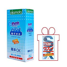 Bao Cao su Okamoto Dot de Cool Gai Lạnh Hộp 10 Chiếc Nhật Bản + Tặng 1 Bao Cao Su Sagami Xtreme Super Thin Siêu Mỏng 0,03 mm Hộp 2 Chiếc Nhật Bản mylovestore