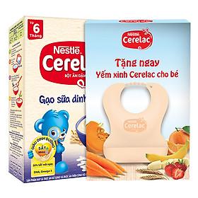 Bột Ăn Dặm Nestle Cerelac - Gạo Sữa Dinh Dưỡng (200g) Tặng Kèm Yếm Ăn Cho Bé