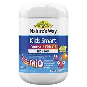 Nature's Way Kids Smart Omega 3 Fish Oil Trio 180 Capsules - Kẹo mềm dầu cá tự nhiên cho trẻ