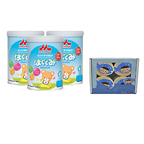 Combo 3 hộp sữa Morinaga số 1 Hagukumi 850gr và 4 hủ ruốc cá hồi (vị ngẫu nhiên)