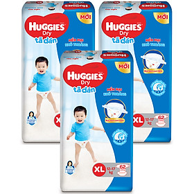 Combo 3 Gói Tã Dán Huggies Dry Gói Cực Đại XL62 (62 Miếng) - Bao Bì Mới