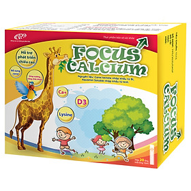 Canxi cho trẻ Focus Calcium - Canxi cho bé dạng nước bổ sung canxi từ tảo biển, vitamin D3 giúp hấp thu   canxi dễ dàng - Hộp 20 ống