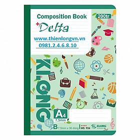 Sổ may dán gáy A4 - 200 trang; Klong 924 xanh lá
