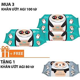 Comoo 3 gói khăn ướt Agi 100 tờ không hương +tặng 1gói khăn ướt Agi 80 tờ không hương ( Giao mẫu ngẫu nhiên )