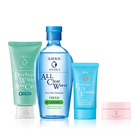 Bộ sản phẩm Senka làm sạch và chống nắng dành cho da mụn - Tặng Kem dưỡng trắng da ban đêm Senka 15g