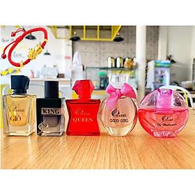 Set 5 mùi nước hoa Charme Mini 10ml (Charme Giò, Charme Queen, Charme Ori, Good Girl, Charme King), Tặng Kèm Vòng Tay May Mắn