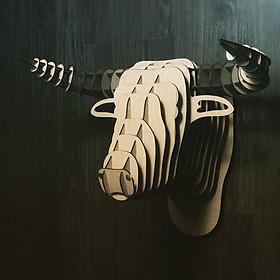 Đầu trâu gỗ 3d puzzle mô hình decor