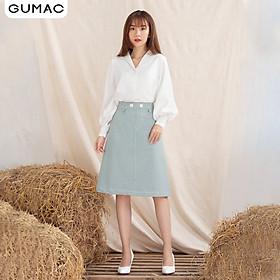 Chân váy GUMAC VA1024  thiết kế dằn chỉ phối khoen VA1024