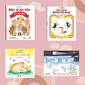 """""""Gia đình là số Một""""- combo 4 cuốn Ehon Nhật Bản giúp phát triển cảm xúc, gắn kết tình yêu thương gia đình. Bao gồm: Bạn chim cút tìm quà tặng mẹ, Cửa hàng bánh mỳ quạ, Một ngày của gia đình ma, Bác sĩ Anton – Em bé đây"""