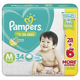 Combo 4 Tã Dán Pampers Baby Dry Gói Đại - Size M M34 (34 Miếng)-1