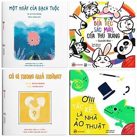 Combo 4 cuốn sách ehon nhật bản nuôi dưỡng tâm hồn cho bé: Một ngày của bạch tuộc + Bữa Tiệc Sắc Màu Của Thú Trắng + Có gì trong quả trứng? + Ơ!!! Tắc Kè Là Nhà Ảo Thuật ( Dành cho bé 0-6 tuổi) ( Tặng kèm Bookmark Happy Life)